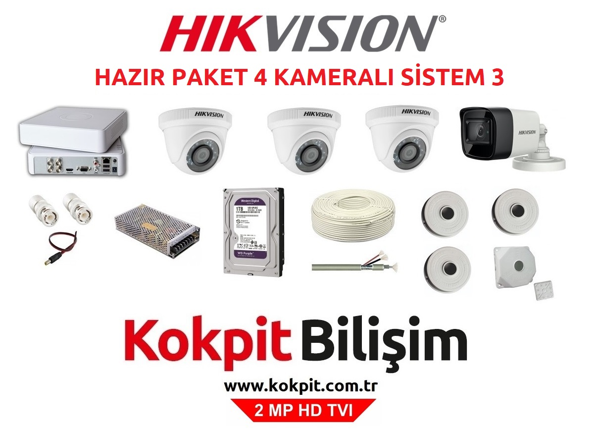4 Kameralı HD TVI Güvenlik Kamera Sistemi 3