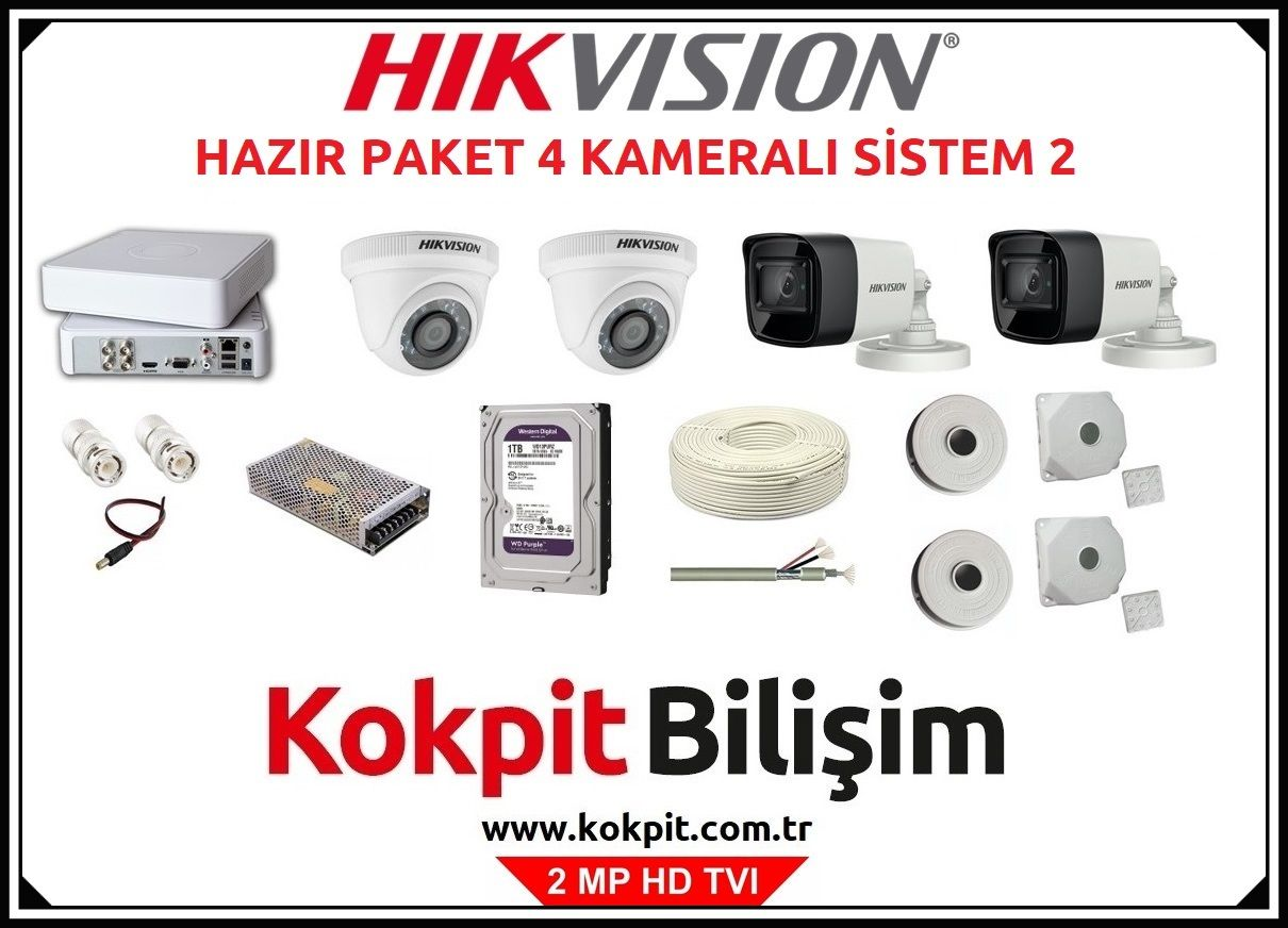 4 Kameralı HD TVI Güvenlik Kamera Sistemi 2