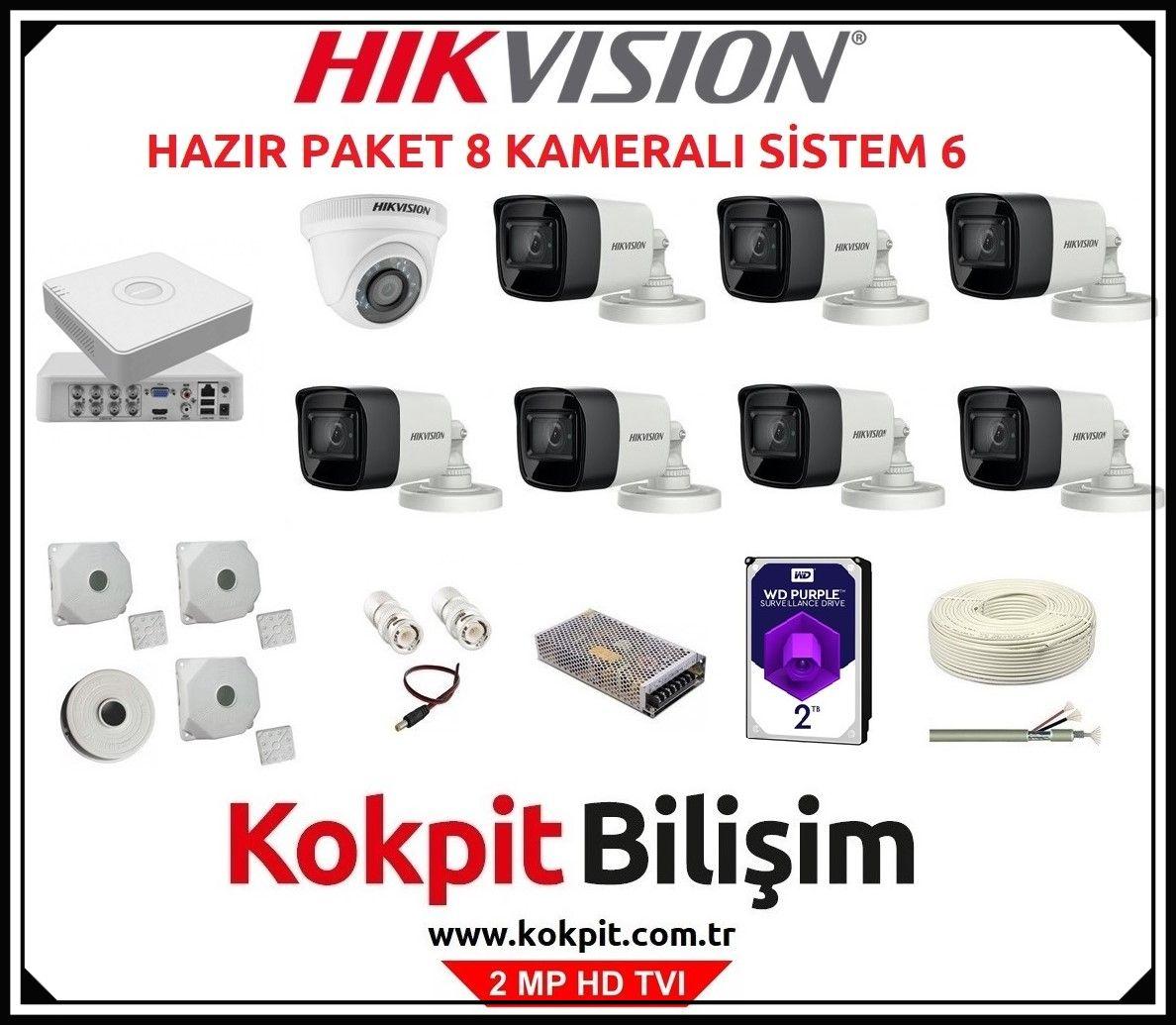 8 Kameralı HD TVI Güvenlik Kamera Sistemi 6