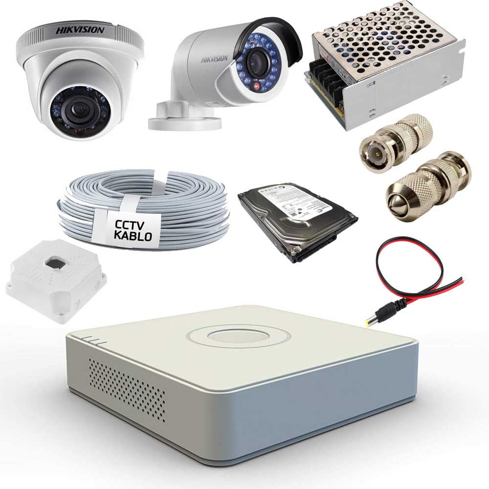 2 Kameralı 1MP Haikon Güvenlik Kamera Sistemi