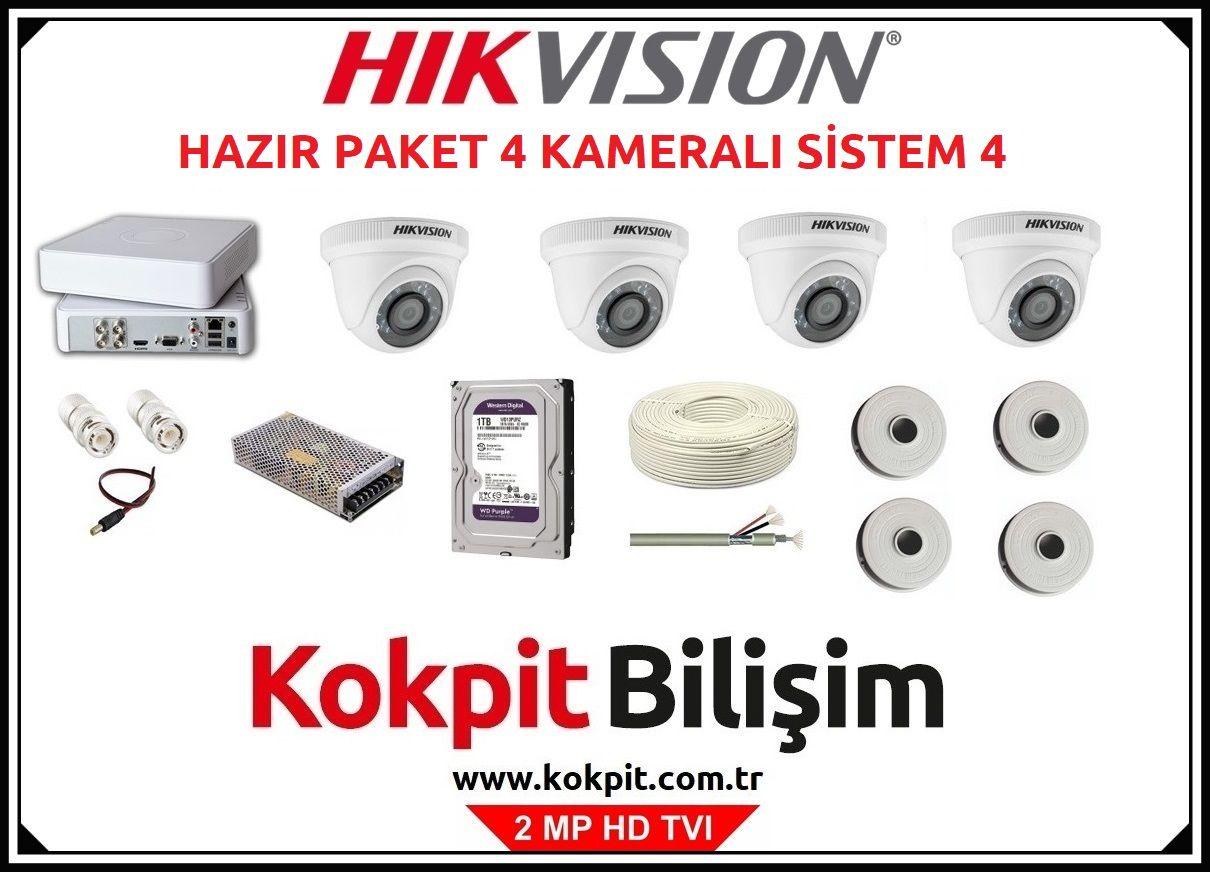 4 Kameralı HD TVI Güvenlik Kamera Sistemi 4