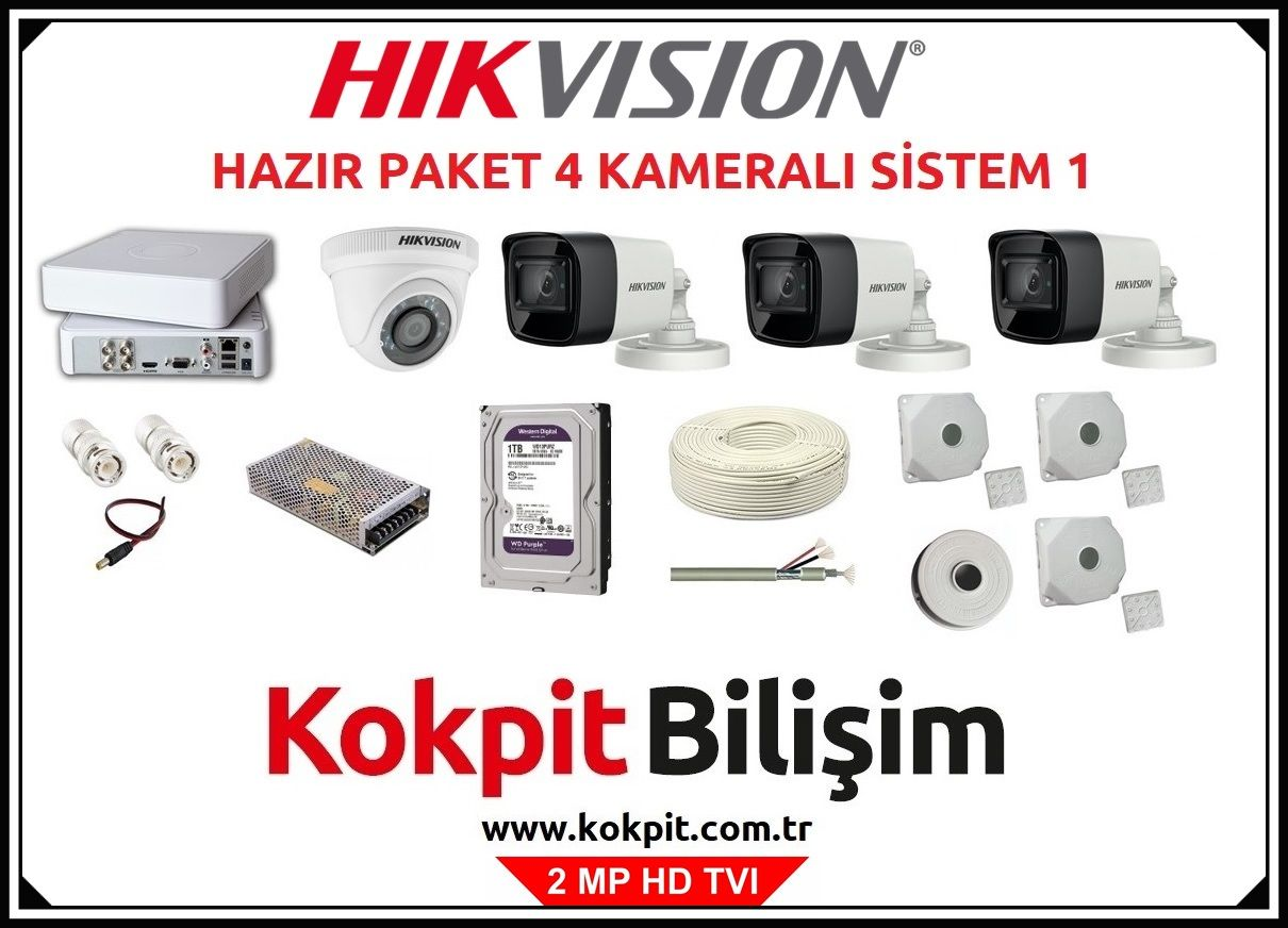 4 Kameralı HD TVI Güvenlik Kamera Sistemi 1